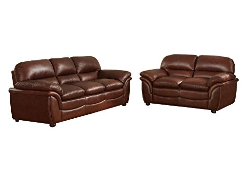 Baxton Studio 9015 2PC Sofa Set Redding Cognac Leather Modern Sofa Set, Large, Brown