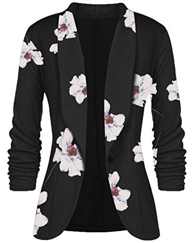 Women's 3/4 Ruched Sleeve Open Front Lightweight Work Office Blazer Jacket