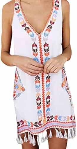 YisiqiC☪ 2019 Women Fashion Summer Bohemia Tassel Casual Print Sleeveless Beach Mini Dress