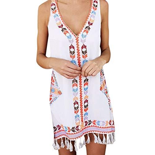 Women Fashion Summer Bohemia Tassel Casual Print Sleeveless Beach Mini Dress