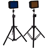Julius Studio 160LED Camera Light Kit, including (2) Ultra High Power 160 LED Video Light Panel Digital Camera DSLR Camcorder LED Video Light (2)28 Tall Photography Mini Light Stand JGG2287