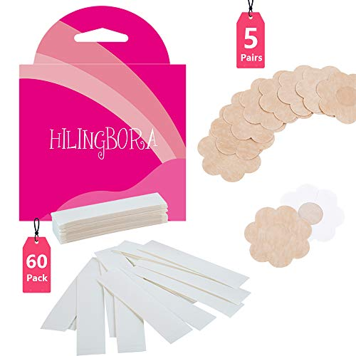 HILINGBORA Fashion Beauty Tape(60 pack) Double Sided For Fashion and Body & Adhesive Bra Petal Tops (5 pairs Flower-shaped nipple covers)]()