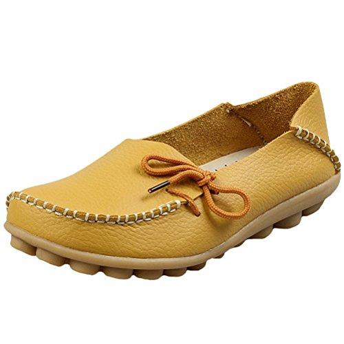 Mordeniss Damen Casual Einfarbig Mokassins Leder Loafer Schuhe Stil 1-gelb