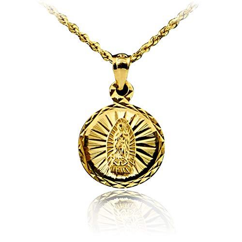 LoveBling 14K Yellow Gold Diamond Cut Virgin Mother Mary Medallion Charm Pendant (0.88