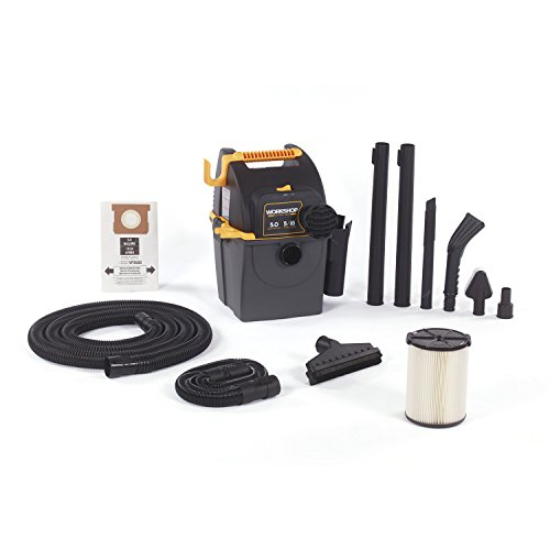 WORKSHOP Wet Dry Vacs WS0501WM Portable Wall Mount Wet Dry Shop Vacuum for Auto, Garage and In-Home with Car Cleaning Kit, 5 Gallon, 5.0 Peak HP (Extension Overflow Kits)