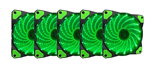 APEVIA AF512L-SGN 120mm Green LED Ultra Silent Case Fan w/ 15 LEDs & Anti-Vibration Rubber Pads (5-pk)