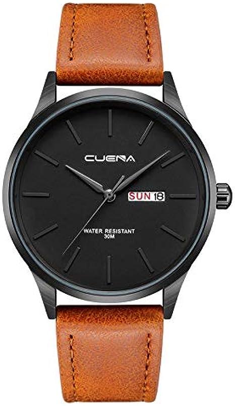 Moda Relojes Hombre Elegante Accesorio 2020 Mejor Regalo,Reloj De Pulsera De Cuarzo AnalóGico con Fecha De AleacióN Militar De Cuero para Hombres Relojes De Negocios