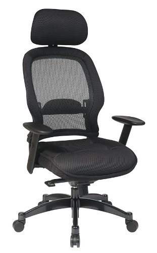 SPACE Seating AirGrid Dark Back and Padded Black Mesh Seat, 2-to-1 Synchro Tilt Control, Adjustable Arms and Tilt Tension Nylon Base Managers Chair with Adjustable Headrest