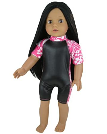 Amazon.com: Hawaiian Print and Black Doll Wet Suit Perfect for ...