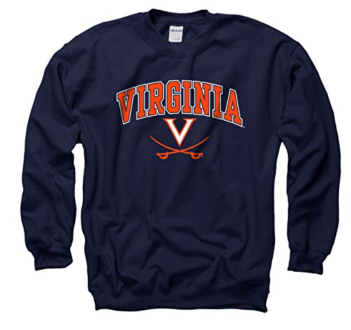 Virginia Cavaliers Adult Arch & Logo Gameday Crewneck Sweatshirt - Navy ()