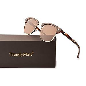 TrendyMate Classic Semi Rimless Polarized Sunglasses Retro Half Frame Eyewear (Leopard Frame/Brown Lens)