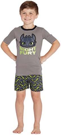 INTIMO Boys' How to Train Your Dragon 'Night Fury' Pajama Short Set