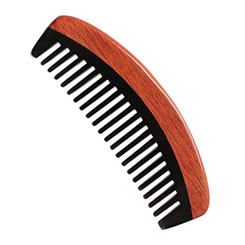 Natural Buffalo Horn Comb with Ruby Sandalwood - Handmade Wooden Comb for Curly Hair - Wide Tooth Hair Comb for Women Men and Kids ()