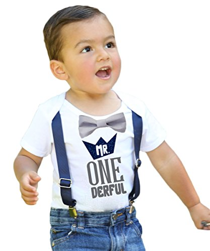 Noahs Boytique Mr Onederful First Birthday Shirt Outfit Boy with Grey Bow Tie Suspenders Navy Blue Grey Saying Cake Smash 1st Birthday Party 6-12 Months