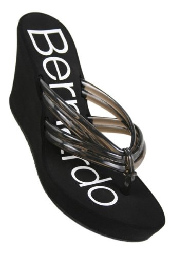 Bernardo Rockaway Jelly Wedge Thong Sandal ~ Smoke ~ Size 8
