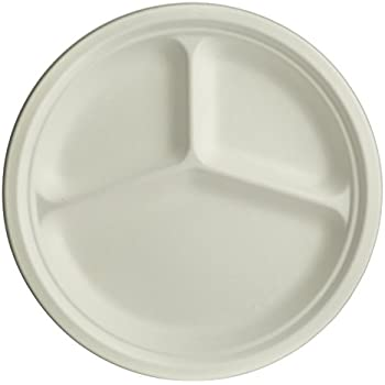 Brheez 10 inch Heavy Duty 3 Compartment Plates 100% Natural Sugarcane Biodegradable Compostable Bagasse Eco-friendly paper alternative - Pack of 60  sc 1 st  Amazon.com & Amazon.com: Chinet Paper Compartment Plates - 165 ct.: Kitchen \u0026 Dining
