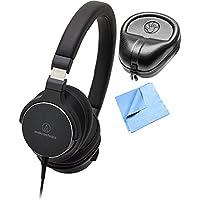 Audio-Technica On-Ear High-Resolution Audio Headphones with Slappa HardBody Headphone Case & Cleaning Cloth, Black