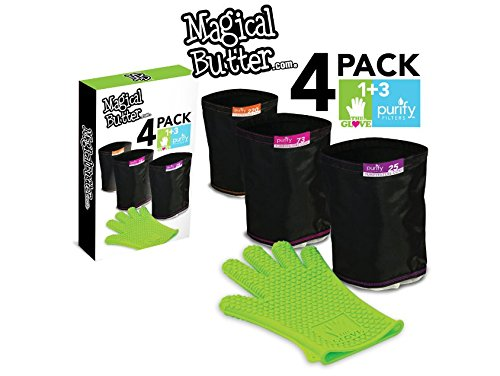 Magical Butter 4Pack: 1 LoveGlove + 3 Purify Filters silicone glove and food strainer filter combo pack (1 Butter)