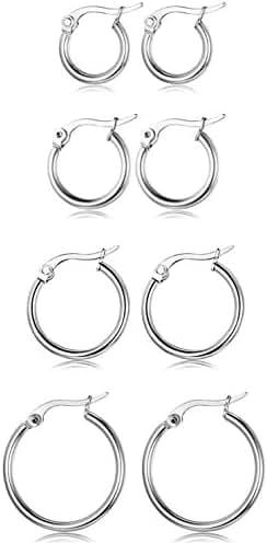 FUNRUN 3-4 Pairs Stainless Steel Hoop Earrings for Women Men Cute Huggie Earrings Piercing Set 10-20MM