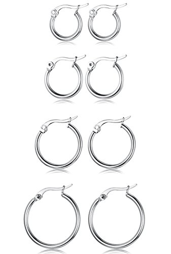 FUNRUN JEWELRY 4 Pairs Stainless Steel Hoop Earrings for Women Men Cute Huggie Earrings Piercing Set Silver-tone 10-20MM (Silver Hoop Earring Set)