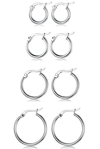 FUNRUN JEWELRY 4 Pairs Stainless Steel Hoop Earrings for Women Men Cute Huggie Earrings Piercing Set Silver-tone 10-20MM (Silver Hoop Earring Set)