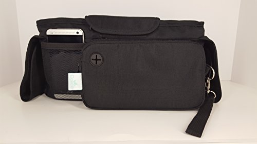 Baby Stroller Organizer Bag, Tray, Bottle Cup Holder, with Multiple Pockets & Compartments for Phone, Money, ID, Sunglasses, Snacks, Coffee, Extra Diaper. Separate Zippered Removable Pouch by Colico (Image #3)