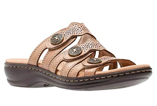 Clarks Leisa Grace Platform Slip on Sandals, Sand Leather, 7.5 W US ()