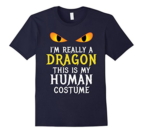 Easy Diy Halloween Costumes For College (Mens I'm Really A Dragon Halloween Costume Shirt Easy Funny Large Navy)