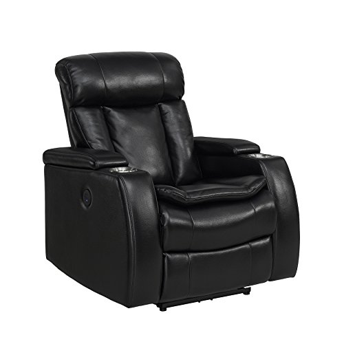 Stylistics Midnight Recliner, 36″ x 39″ x 42″, Black Review