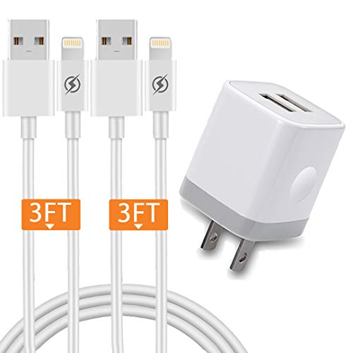 USB Wall Charger, JUNVANG 2.1A/5V Dual Port USB Plug Power Adapter with 2-Pack 3Ft Fast Charging Cable Compatible for iPhone Xs Max XR X 8/7/6S Plus SE/5S/5C, iPad