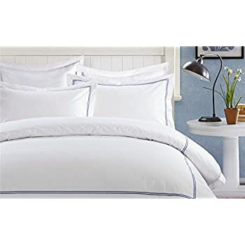 marcopolo 100 egyptian cotton white duvet cover queen bed set with blue embroidered lines for luxury hotel queenfull size set of 3 includes a duvet cover - White Duvet Cover Queen