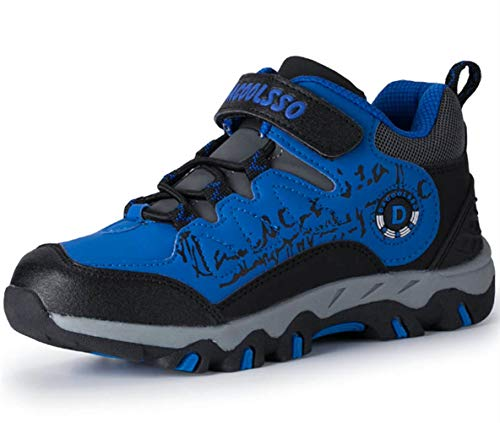 DADAWEN Boy's Girl's Running Shoes Waterproof Outdoor Hiking Athletic Sneakers (Toddler/Little Kid/Big Kid) Blue US Size 6 M Big Kid by DADAWEN (Image #5)