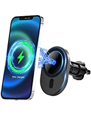 Compatible with iPhone 12/12 mini/12 Pro/12 Pro Max/Mag-Safe Car Charger,Magnetic Car Air Vent Mount Wireless Charger Phone Holder with 15W Fast Charging Auto-Clamping for Mag-Safe/Magnetic Case only