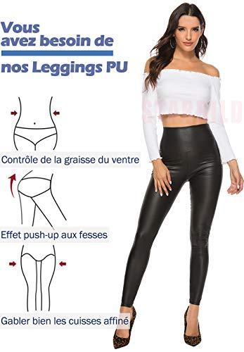 STARBILD Leggings en Similicuir Pantalon PU Collant Cuir Femme Taille Haute Sexy Push up Crayon Jeans Basique Slim Fesse…