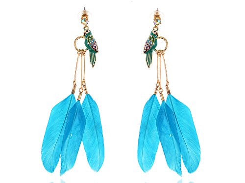 [Alilang Womens Swarovski Crystal Element Gold Tone Tropical Blue Faux Feather Parrot Bird Dangle] (Parrot Costume Female)