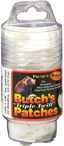 Butch's 2-1/4-Inch Square-35-45 Cal Triple Twill Cleaning Patches