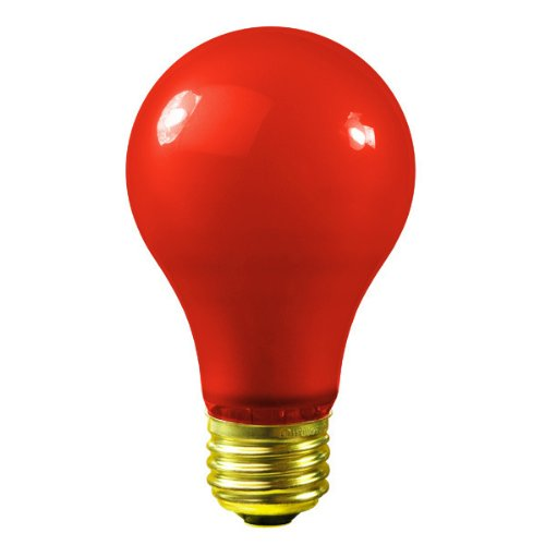 25 Watt - Red Ceramic Coated - A19 - 130 Volt - 1000 Life Hours - Party Light Bulb - Satco S6090 -
