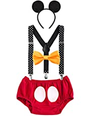 IBTOM CASTLE Baby Boys First Birthday Christmas Costume Cake Smash Outfits Y Back Suspenders Bloomers Bowtie Set Mouse Ear Headband 3-6 Months