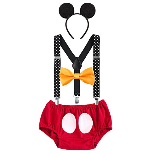 IBTOM CASTLE Baby Boys First Birthday Christmas Costume Cake Smash Outfits Y Back Suspenders Bloomers Bowtie Set Mouse Ear Headband 6-12 Months]()