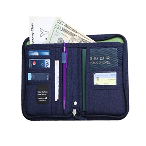 port Holder Security Pass Wallet Travel Pouch Organizer Navy Blue (2 Sided Track Jacket)