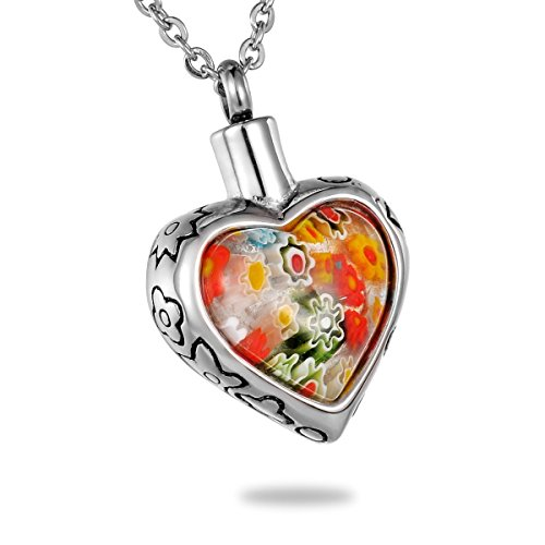 HooAMI Colorful Murano Flower Glass Heart Urn Necklace Cremation Jewelry Memorial Keepsakes