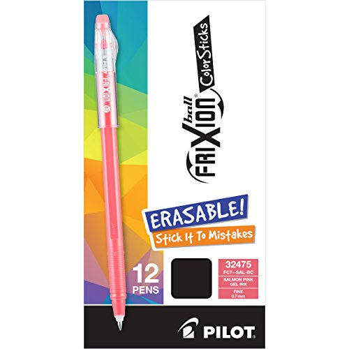 12 Dozen Case - PILOT FriXion Color Sticks Erasable Gel Pens Dozen Box Salmon Pink 12 pk; Make Mistakes Disappear, No Need For White Out. Smooth Lines to the End of Page, America's #1 Selling Pen Brand