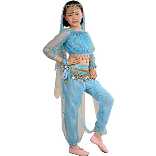 Astage Little Girl`S Belly Dance Costumes,Long sleeve Highlights Top ,Pants Sky Blue £¨S fits Unders 47in£