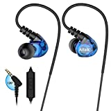 In Ear Headphones, Sports Earbuds Wired Earphones Over Ear Workout Earbuds with Microphone for Running Jogging Gym Exercise, Earphones for Phones (Blue)