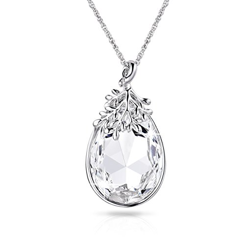 Alantyer Diamond Colour Swarovski Crystal White Gold Teardrop Pendant Necklace Jewelry Boxes for Her, Crystals Made with Swarovski (Clear Necklace Crystal)