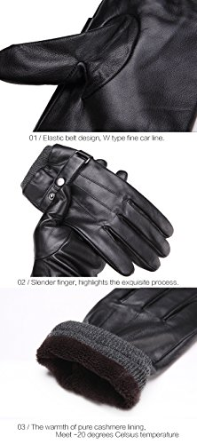 Mens Luxury Touchscreen Italian Nappa Genuine Leather Winter Warm Gloves for Texting Driving Cashmere Lining Blend Cuff (2XL-9.8'', Black) by FLY HAWK (Image #6)