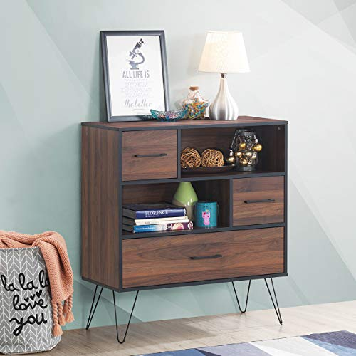 Tangkula 3-Tier Storage Cabinet, Wood File Cabinet with Drawers & 4 Metal Legs, Free Standing Display Bookshelf, Storage Bookcase for Home Office