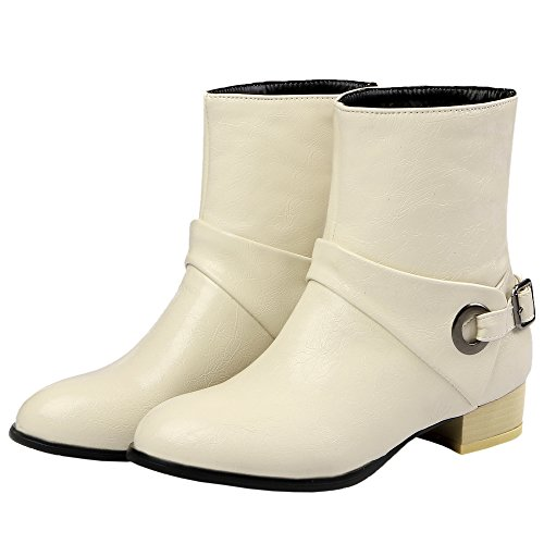 HooH Women Chelsea Boots West Buckle Cowgirl Ankle Boots Beige fvp2DqH5