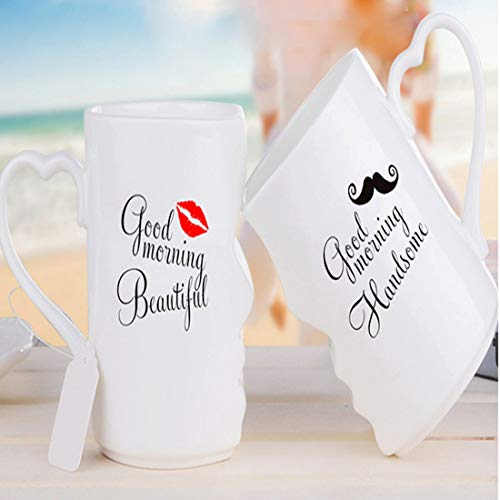 BonZeaL Good Morning Beautiful Handsome Mug Ceramic Coffee Mugs Tea Cups Anniversary Gift for Mom Dad Husband Wife Parents Quirky Gifts for Couple Girlfriend Boyfriend Gift for Couples Set of 2 350ML