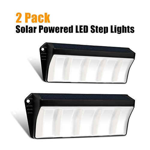 Solar Powered Stair Step Light, Wireless Waterproof Outdoor Lighting Security Lights for Wall Decks Backyards Fence Pathway Driveway Porch Garden Garage Patio by Roadwi (2 Pack)